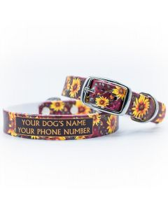 Merlot Sunflowers Dog Collar
