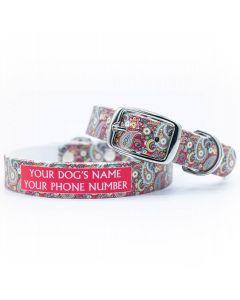 Paisley Magenta Dog Collar