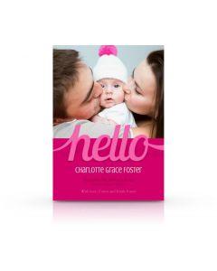 Hello Birth Announcement Card