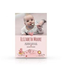 Pink Sparrows Birth Announcement Card