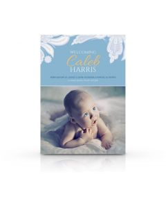 Blue Paisley Flowers Birth Announcement Card