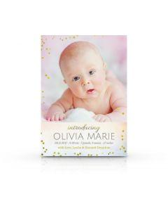 Bokeh Birth Announcement Card