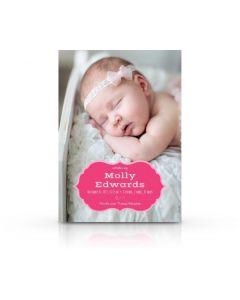 Pink Heraldic Frame Birth Announcement Card